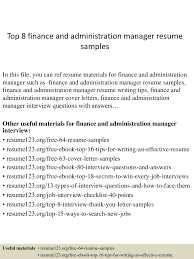 Resume Samples Healthcare Administration by Top8financeandadministrationmanagerresumesamples 150410091043 Conversion Gate01 Thumbnail 4 Jpg Cb U003d1428675090