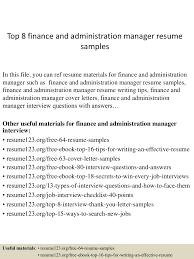 Administrative Resume Samples Free by Top8financeandadministrationmanagerresumesamples 150410091043 Conversion Gate01 Thumbnail 4 Jpg Cb U003d1428675090