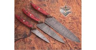 Handmade Kitchen Knives For Sale Damascus Steel Kitchen Knives Set Gladiatiators Guild Wood Handle