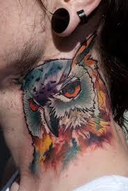 illustrative style colored neck tattoo of owl tattooimages biz