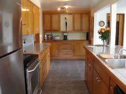kitchen ideas with oak cabinets fantastic space saving galley kitchen ideas