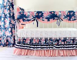 pink and blue girls bedding coral and navy baby bedding stripe and floral chic