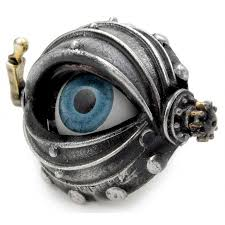 steampunk pewter false eye ring with opening door alchemy gothic