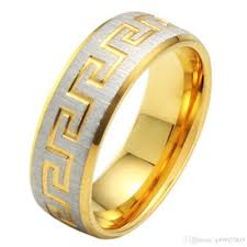 7mm ring mens 7mm vintage stainless steel the great wall gold ring brushed