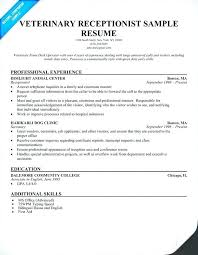 veterinary receptionist sample resume ophthalmic assistant resume u2013 foodcity me