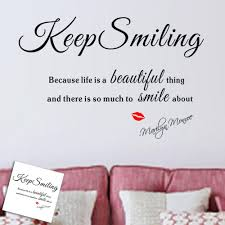 keep smiling quotes wall sticker for living room sitting room kids see larger image