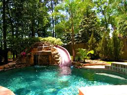 bedroom picturesque waterfall slides backyard pool ideas above