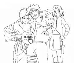 naruto sasuke and sakura anime coloring page for kids manga