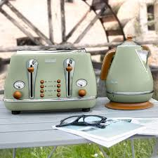 Delonghi Icona 4 Slice Toaster Black Delonghi Icona Vintage Kettle In Olive Green Gloss Green Kettle