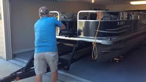 store a 20 u0027 pontoon in a 2 car garage youtube