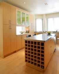 birch honey raised door kitchen island wine rack backsplash