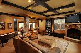 basement family room with nine foot tray ceiling you can always