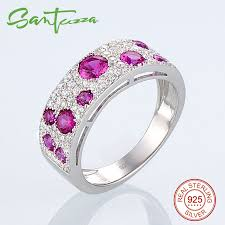sted rings silver ring for women gem created rubies white aaa cubic