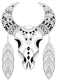 coloring pages of indian feathers zentangle stylized animal skull with boho feathers hand drawn e