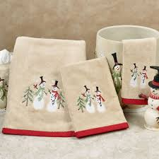 Christmas Towels Bathroom Tall Snowman Holiday Bath Towel Set