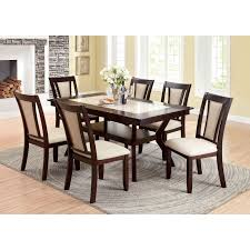 Cherry Wood Dining Room Set by Furniture Of America Mullican 7 Piece Display Top Dining Table Set