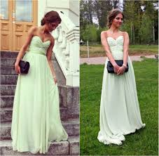 mint green long chiffon bridesmaid dress 2016 cheap elegant