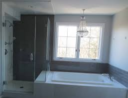 complete bathroom install subway glass tile and carrera marble