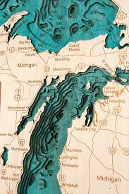 Lake Michigan Depth Map by Amazon Com Lake Michigan In Great Lakes Gl 3d Map 16 X 20 In
