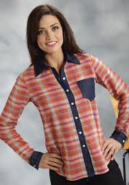 roper women u0027s orange plaid ls cowgirl shirt
