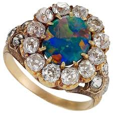 black opal engagement rings antique black opal and gold cluster ring at 1stdibs