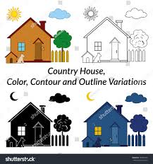 set small cartoon country houses dog stock vector 504699142