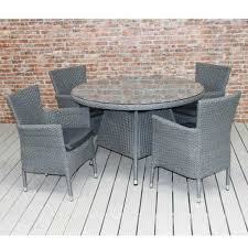 Outdoor Rattan Dining Chairs 4 Seater Dining Set Rattan And Glass Round Table Dark Grey