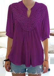 purple blouses navy blue split neck lace panel blouse liligal com usd 29 69