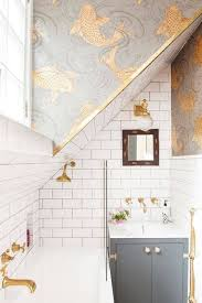 Top  Best Small Bathroom Wallpaper Ideas On Pinterest Half - Designer wallpaper for bathrooms
