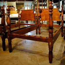 Antique Bed Set Furniture P U003eantique Pair Of Standard Twin Beds In Maple With Carved Feather