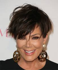 kris jenner short straight casual hairstyle with side swept bangs