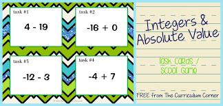 integers u0026 absolute value task cards the curriculum corner 4 5 6