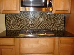small kitchen decoration using dark brown green mosaic tile