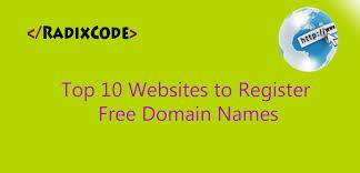 radix code top 10 websites to get free domain names
