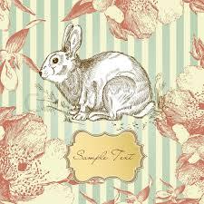 vintage rabbit vintage easter rabbit stock vector colourbox