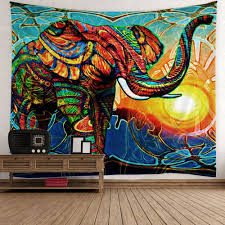 home decor elephant sunlight wall tapestry colorful w inch l