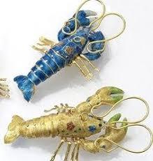 lobster bottlebrush ornaments set of 3 coastal