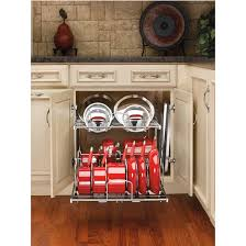 Storage Ideas For Kitchen Kitchen Pan Storage Two Tier Pots Pans And Lids Organizer For