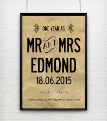 1st year anniversary gift ideas personalised 1st wedding anniversary print wedding anniversary