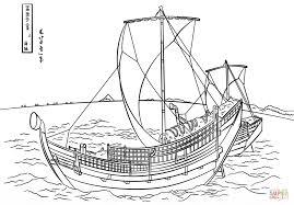 viking ship coloring page the kazusa sea route by katsushika hokusai coloring page free