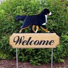 bernese mountain breed oak wood welcome outdoor yard sign