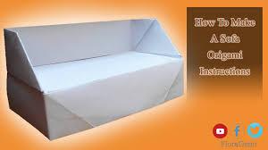 Make A Sofa by How To Make A Sofa Origami Instructions Origami Furniture Sofa