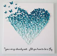 Butterfly 3d Wall Art by 3d Butterfly Heart In Ombre Ocean Blues Wall Art 24x24 You
