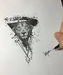 blind eyed geometric lion tattoo design tattooimages biz