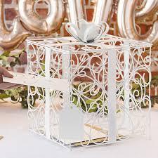 wedding gift card white scrolled wire wedding gift card box my wedding reception ideas