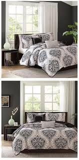 Black Comforter King Black White Grey Damask Scroll Teen Bedding Twin Xl Full Queen
