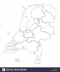 Map Netherlands Netherlands Outline Silhouette Map Illustration With Provinces
