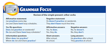 review of the simple present other verbs english grammar