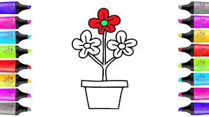 flower pot colorful drawing and coloring pages nursery rhymes