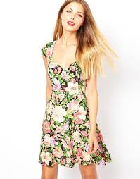 90s dress lyst asos 90s skater dress in tulip print in green